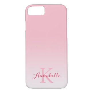 Pastel Pink Ombre Name & Monogram iPhone 8/7 Case