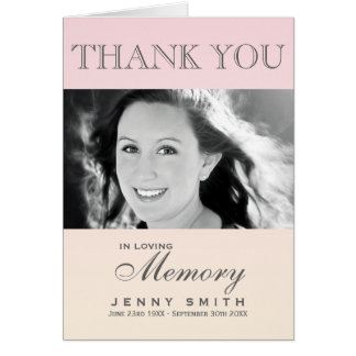 Pastel Pink Ombré Photo Sympathy Thank You Note Card