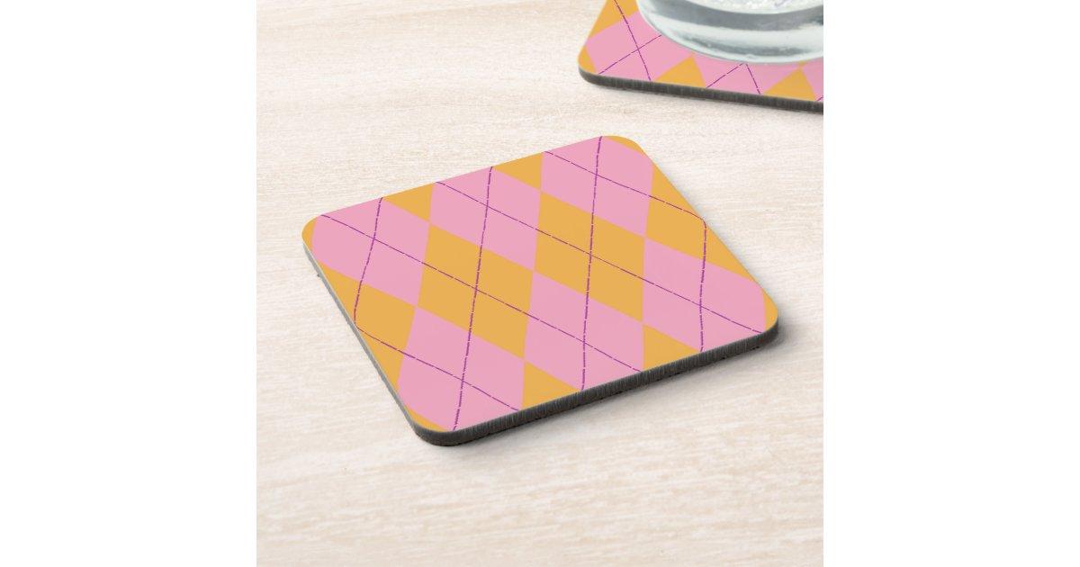 Pastel Pink Orange Argyle Beverage Coasters Zazzle