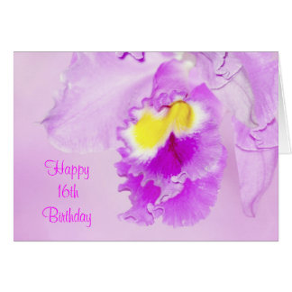 Pastel Pink Orchid 16th Birthday Greeting Card