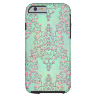 Pastel Pink over Mint Green Floral Damask Tough iPhone 6 Case
