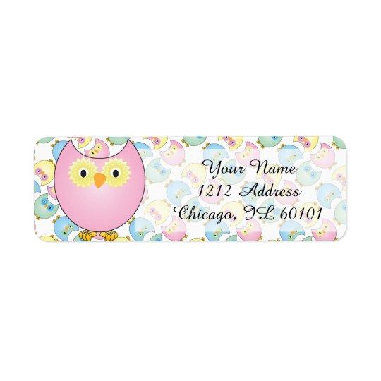 Pastel Pink Owl Baby Shower Theme Return Address Label