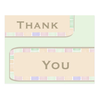 Pastel Pink Pale Green Thank You Post Card