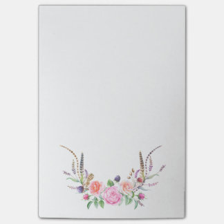 Pastel Pink Peach English Roses Feathers Floral Post-it® Notes