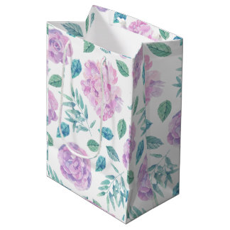 Pastel Pink & Purple Flowers Pattern Medium Gift Bag