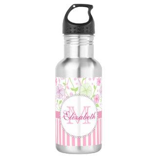 Pastel pink, purple, flowers, pink & white stripes 532 ml water bottle