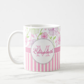Pastel pink, purple, flowers, pink & white stripes coffee mug