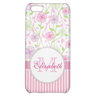 Pastel pink, purple, flowers, pink & white stripes cover for iPhone 5C