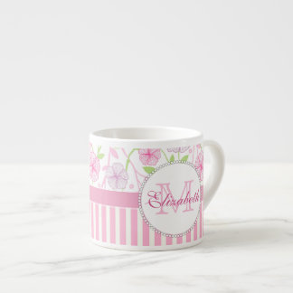 Pastel pink, purple, flowers, pink & white stripes espresso cup