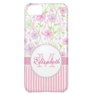 Pastel pink, purple, flowers, pink & white stripes iPhone 5C case