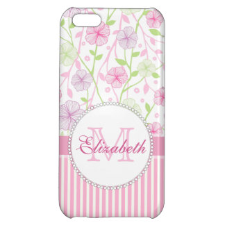 Pastel pink, purple, flowers, pink & white stripes iPhone 5C cases