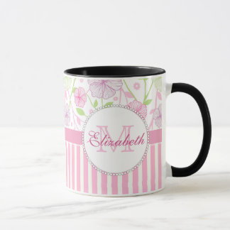 Pastel pink, purple, flowers, pink & white stripes mug