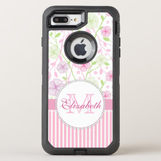 Pastel pink, purple, flowers, pink & white stripes OtterBox defender iPhone 8 plus/7 plus case