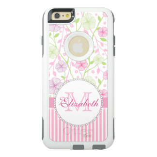 Pastel pink, purple, flowers, pink & white stripes OtterBox iPhone 6/6s plus case