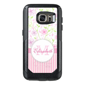 Pastel pink, purple, flowers, pink & white stripes OtterBox samsung galaxy s7 case
