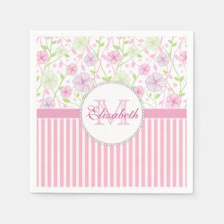 Pastel pink, purple, flowers, pink & white stripes paper napkin
