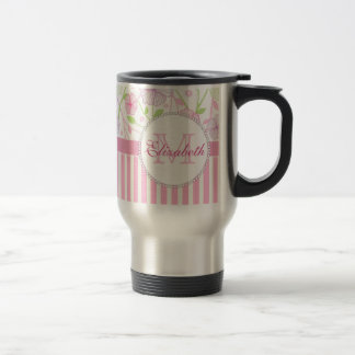 Pastel pink, purple, flowers, pink & white stripes travel mug