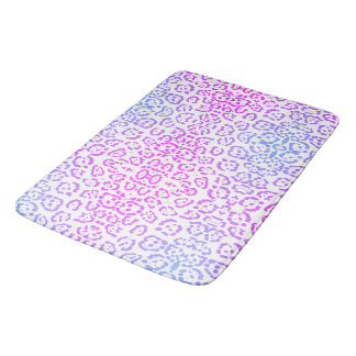 Pastel Pink Purple Leopard Cat Animal Print Bath Mat