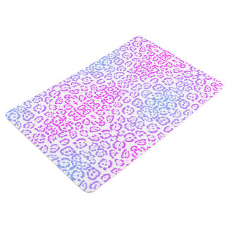 Pastel Pink Purple Leopard Cat Animal Print Floor Mat