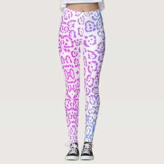 Pastel Pink Purple Leopard Cat Animal Print Leggings