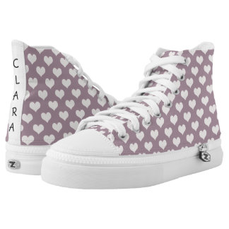 pastel pink purple love hearts polka dots pattern printed shoes