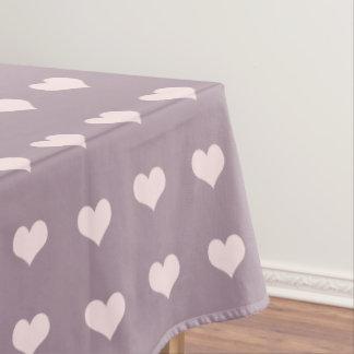 pastel pink purple love hearts polka dots pattern tablecloth
