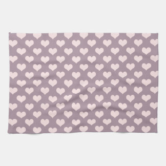 pastel pink purple love hearts polka dots pattern tea towel