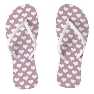 pastel pink purple love hearts polka dots pattern thongs