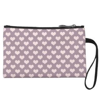 pastel pink purple love hearts polka dots pattern wristlet
