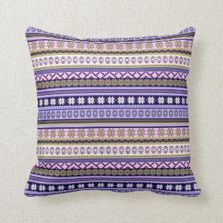 Pastel Pink & Purple Nordic Knit Snowflake Graphic Cushion