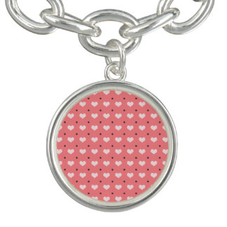 pastel pink red love hearts, polka dots pattern