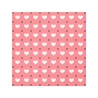 pastel pink red love hearts, polka dots pattern canvas print