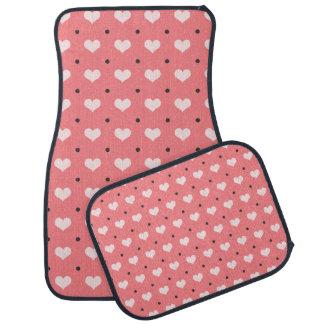 pastel pink red love hearts, polka dots pattern car mat