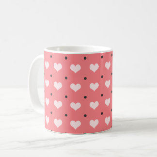 pastel pink red love hearts, polka dots pattern coffee mug