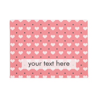 pastel pink red love hearts, polka dots pattern doormat