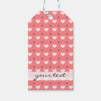 pastel pink red love hearts, polka dots pattern gift tags