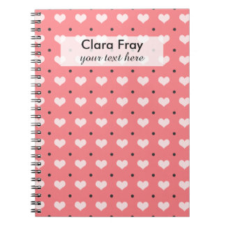 pastel pink red love hearts, polka dots pattern note book