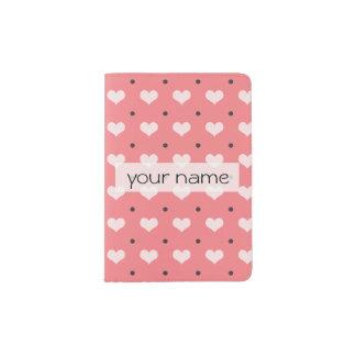 pastel pink red love hearts, polka dots pattern passport holder