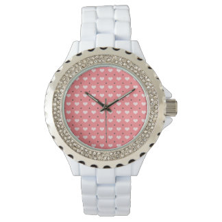 pastel pink red love hearts, polka dots pattern watch