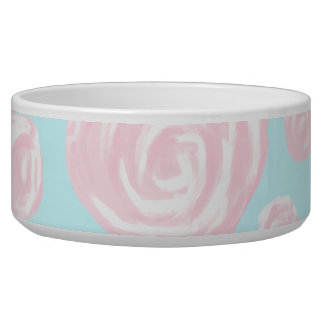 Pastel Pink Rose Pattern on Light Blue.
