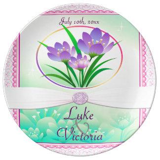 Pastel Pink & Seafoam Green Spring Flowers Wedding Porcelain Plate