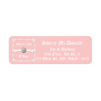 Pastel Pink Small Labels for Sweet 16th