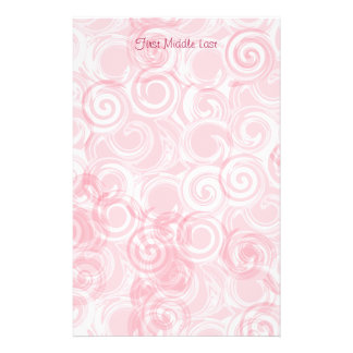 Pastel Pink Spiral Custom Template Background Personalized Stationery