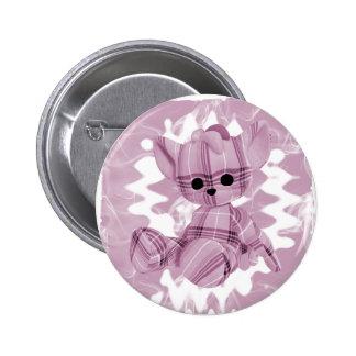 Pastel Pink Spiral Smoke Teddy Bear Pinback Button