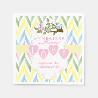Pastel Pink Squirrel Design - Baby Girl Shower Paper Serviettes
