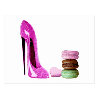 Pastel Pink Stiletto and French Macaroons Art Postcard