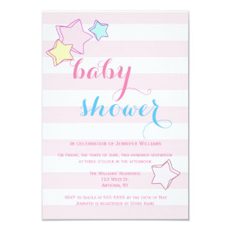 Pastel pink stripe baby shower invitations