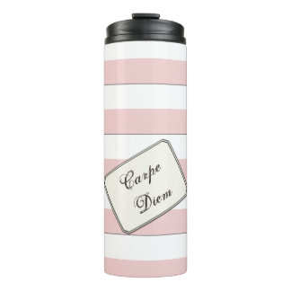 Pastel Pink Stripes on any Colour any Text Thermal Tumbler
