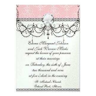 pastel pink swirl damask chic design custom invites