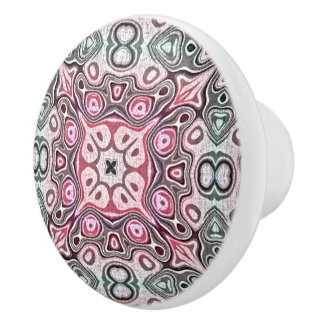 Pastel Pink Teal Blue Green Hip Ornate Art Motif Ceramic Knob